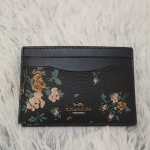 Coach Flat Card Case With Rose Bouquet Print